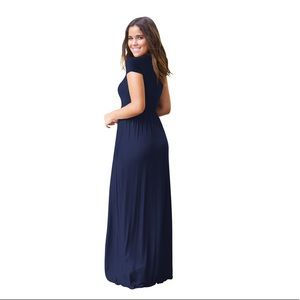 Women's casual maxi dress with pockets in navy